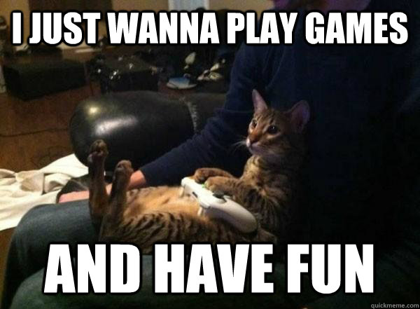 i just wanna play games and have fun - i just wanna play games and have fun  Gamer Cat