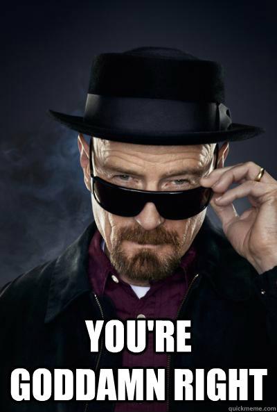 You're goddamn right  Scumbag Heisenberg