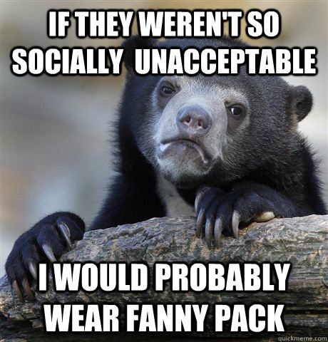 If they weren't so socially  unacceptable I would probably wear fanny pack - If they weren't so socially  unacceptable I would probably wear fanny pack  Confession Bear