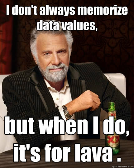 I don't always memorize data values, but when I do, it's for lava . - I don't always memorize data values, but when I do, it's for lava .  The Most Interesting Man In The World