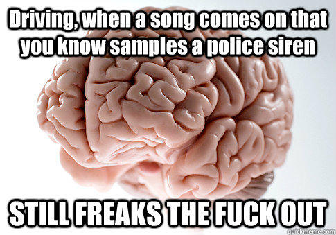 Driving, when a song comes on that you know samples a police siren STILL FREAKS THE FUCK OUT  - Driving, when a song comes on that you know samples a police siren STILL FREAKS THE FUCK OUT   Scumbag Brain