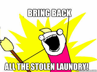 Bring back All the stolen laundry!  All The Things