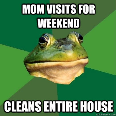 mom visits for weekend cleans entire house - mom visits for weekend cleans entire house  Foul Bachelor Frog