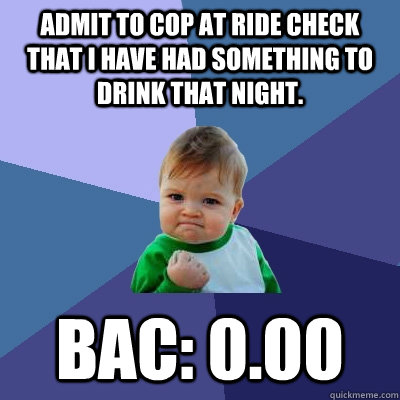 Admit to cop at ride check that I have had something to drink that night. BAC: 0.00 - Admit to cop at ride check that I have had something to drink that night. BAC: 0.00  Success Kid