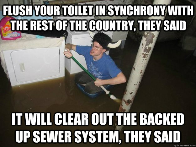 Flush your toilet in synchrony with the rest of the country, they said It will clear out the backed up sewer system, they said - Flush your toilet in synchrony with the rest of the country, they said It will clear out the backed up sewer system, they said  Do the laundry they said