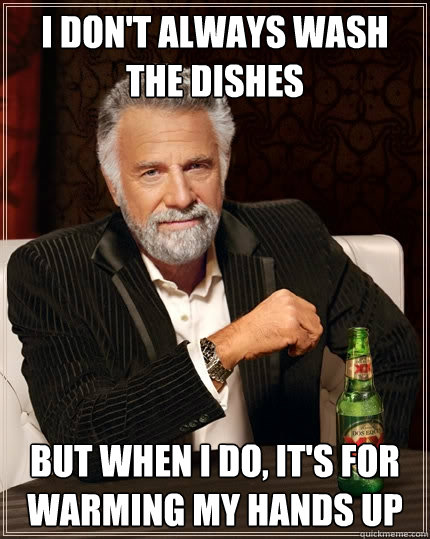 I don't always wash the dishes but when I do, it's for warming my hands up - I don't always wash the dishes but when I do, it's for warming my hands up  The Most Interesting Man In The World