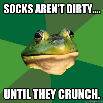 Socks aren't dirty.... until they crunch. - Socks aren't dirty.... until they crunch.  Foul Bachelor Frog
