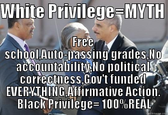 WHITE PRIVILEGE=MYTH  FREE SCHOOL,AUTO-PASSING GRADES,NO ACCOUNTABILITY,NO POLITICAL CORRECTNESS,GOV'T FUNDED EVERYTHING,AFFIRMATIVE ACTION.   BLACK PRIVILEGE= 100%REAL  Misc