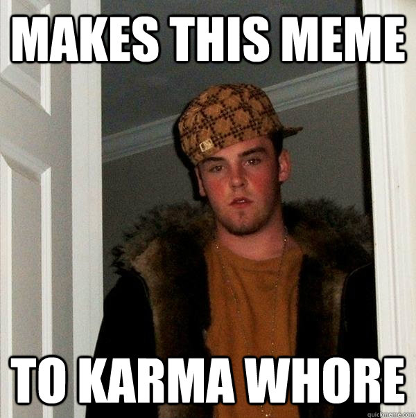 Makes this meme to karma whore - Makes this meme to karma whore  Scumbag Steve