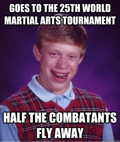 Goes to the 25th World Martial Arts Tournament Half the combatants fly away - Goes to the 25th World Martial Arts Tournament Half the combatants fly away  Bad Luck Brian