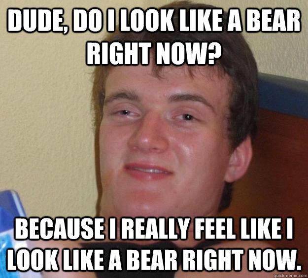 dude, do i look like a bear right now? because i really feel like i look like a bear right now. - dude, do i look like a bear right now? because i really feel like i look like a bear right now.  10 Guy