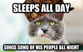 sleeps all day sings song of his people all night
