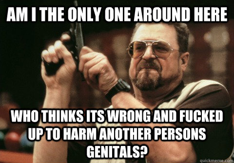 Am I the only one around here Who thinks its wrong and fucked up to harm another persons genitals? - Am I the only one around here Who thinks its wrong and fucked up to harm another persons genitals?  Am I the only one