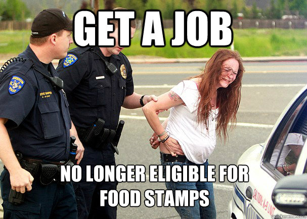 get a job no longer eligible for food stamps