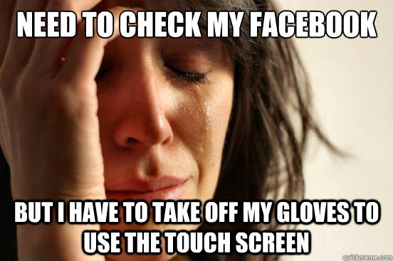 need to check my facebook but I have to take off my gloves to use the touch screen - need to check my facebook but I have to take off my gloves to use the touch screen  First World Problems