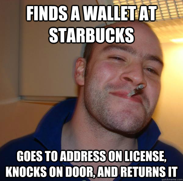 finds a wallet at starbucks goes to address on license, knocks on door, and returns it - finds a wallet at starbucks goes to address on license, knocks on door, and returns it  Misc