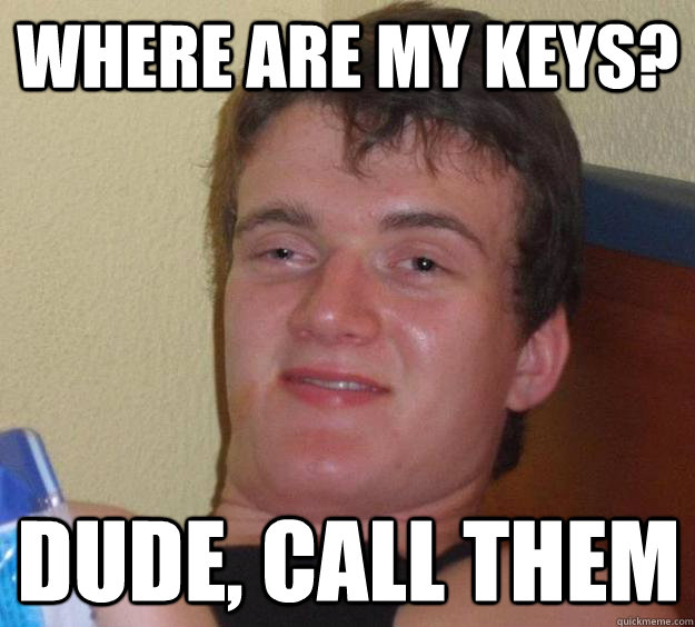 Where are my keys? Dude, call them - Where are my keys? Dude, call them  10 Guy
