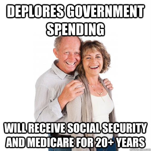 deplores government spending will receive social security and medicare for 20+ years