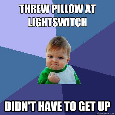 Threw pillow at lightswitch didn't have to get up - Threw pillow at lightswitch didn't have to get up  Success Kid
