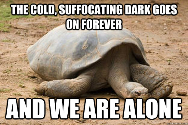 The cold, suffocating dark goes on forever  and we are alone  Depression Turtle