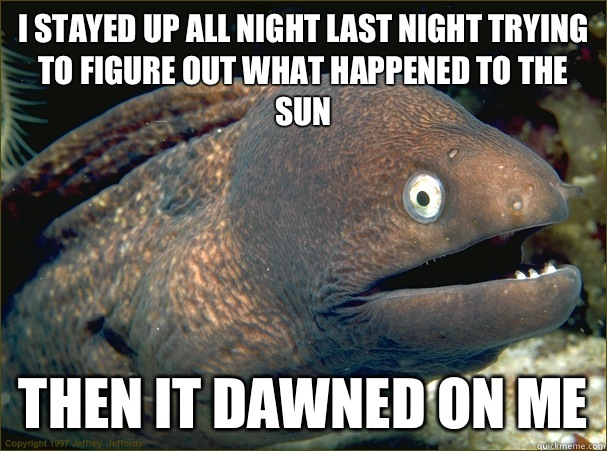 I stayed up all night last night trying to figure out what happened to the sun Then it dawned on me  - I stayed up all night last night trying to figure out what happened to the sun Then it dawned on me   Bad Joke Eel