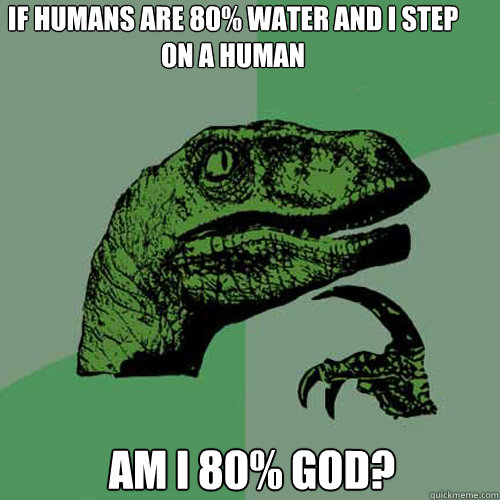 if humans are 80% water and i step on a human am i 80% god? - if humans are 80% water and i step on a human am i 80% god?  Philosoraptor