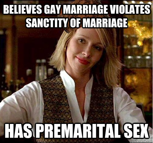 believes gay marriage violates sanctity of marriage has premarital sex