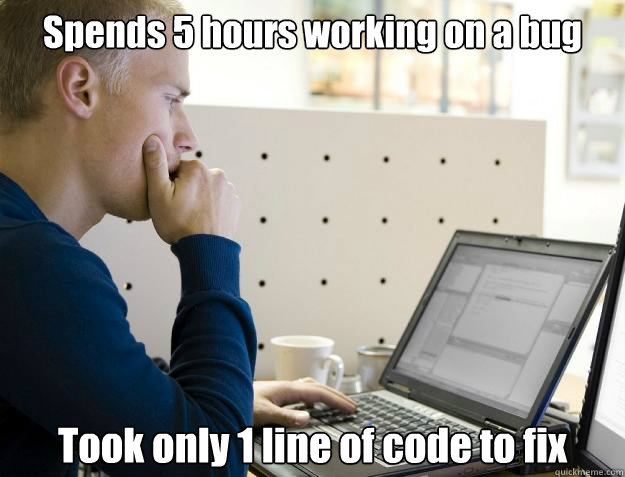 Spends 5 hours working on a bug Took only 1 line of code to fix  Programmer