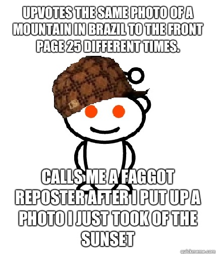 Upvotes the same photo of a mountain in Brazil to the front page 25 different times. Calls me a faggot reposter after I put up a photo I just took of the sunset - Upvotes the same photo of a mountain in Brazil to the front page 25 different times. Calls me a faggot reposter after I put up a photo I just took of the sunset  Scumbag Reddit