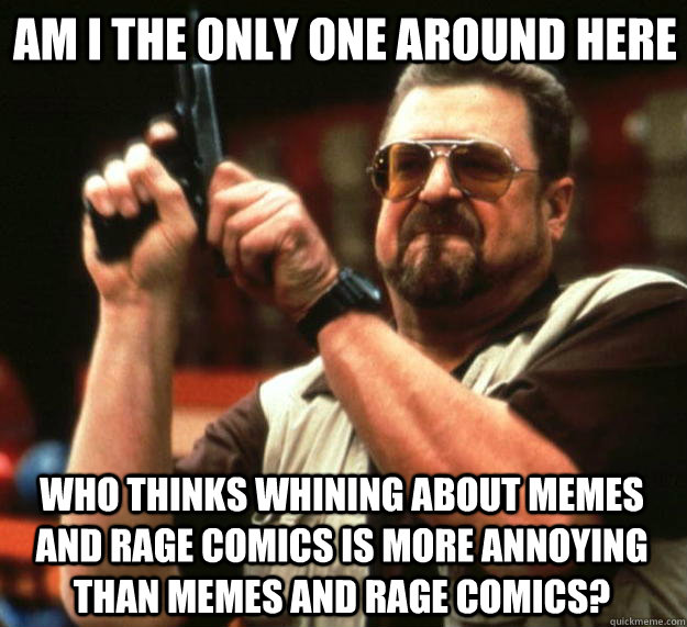 Am i the only one around here Who thinks whining about memes and rage comics is more annoying than memes and rage comics?