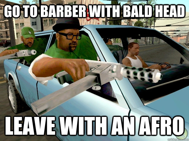 go to barber with bald head leave with an afro