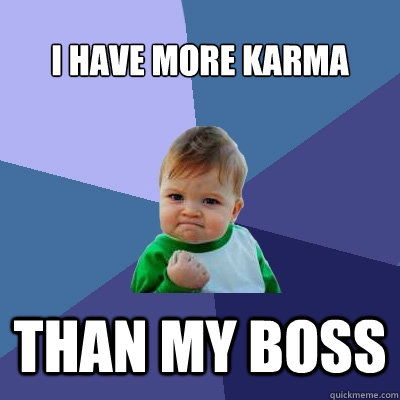 I have more karma than my boss - I have more karma than my boss  Success Kid