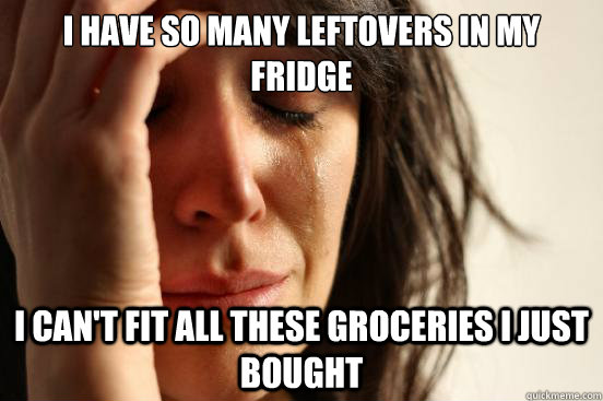I have so many leftovers in my fridge I can't fit all these groceries I just bought - I have so many leftovers in my fridge I can't fit all these groceries I just bought  FirstWorldProblems
