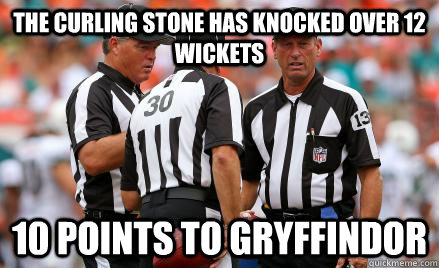 The curling stone has knocked over 12 wickets 10 points to gryffindor