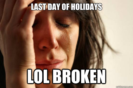 last day of holidays lol broken - last day of holidays lol broken  First World Problems