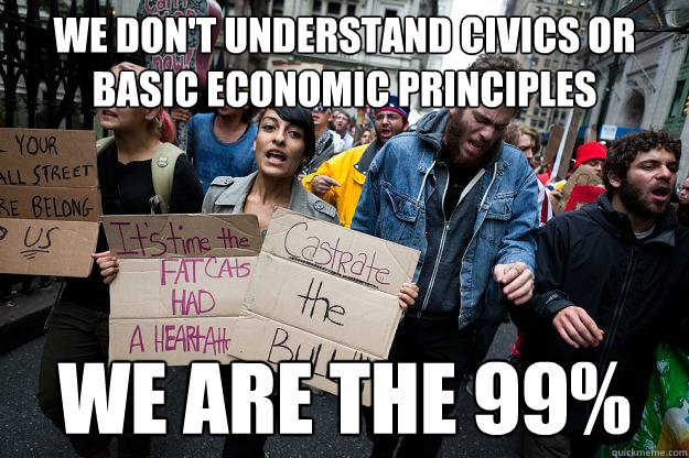 We don't understand civics or basic economic principles We are the 99%
