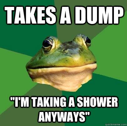Takes a dump