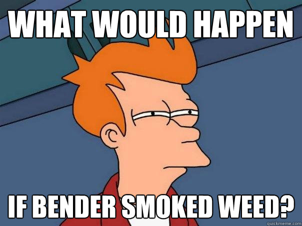What would happen if Bender smoked weed?  Futurama Fry