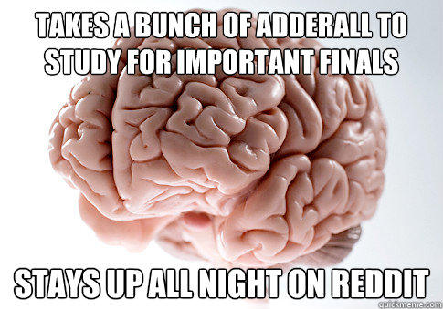 TAKES A BUNCH OF ADDERALL TO STUDY FOR IMPORTANT FINALS STAYS UP ALL NIGHT ON REDDIT  - TAKES A BUNCH OF ADDERALL TO STUDY FOR IMPORTANT FINALS STAYS UP ALL NIGHT ON REDDIT   Scumbag Brain