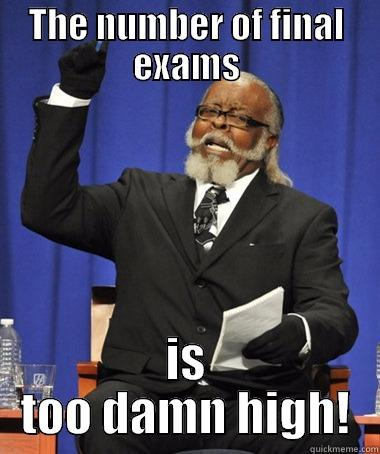 THE NUMBER OF FINAL EXAMS IS TOO DAMN HIGH! The Rent Is Too Damn High