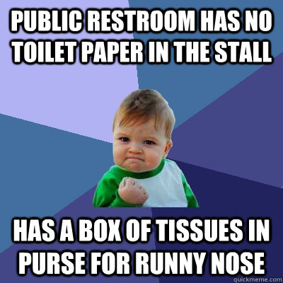 Public restroom has no toilet paper in the stall Has a box of tissues in purse for runny nose - Public restroom has no toilet paper in the stall Has a box of tissues in purse for runny nose  Success Kid