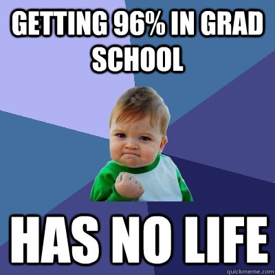 Getting 96% in Grad school Has no life - Getting 96% in Grad school Has no life  Success Kid
