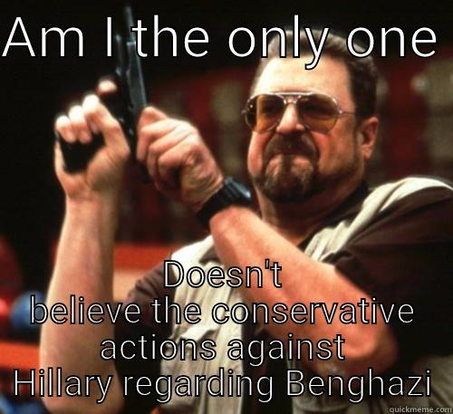 AM I THE ONLY ONE  DOESN'T BELIEVE THE CONSERVATIVE ACTIONS AGAINST HILLARY REGARDING BENGHAZI Am I The Only One Around Here