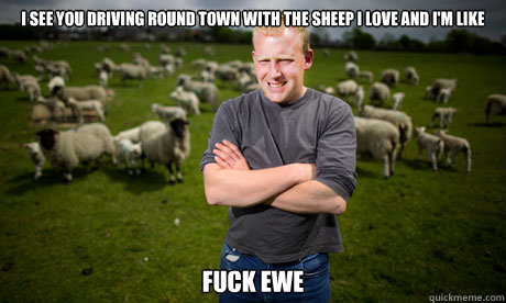 I see you driving round town with the sheep i love and i'm like fuck ewe