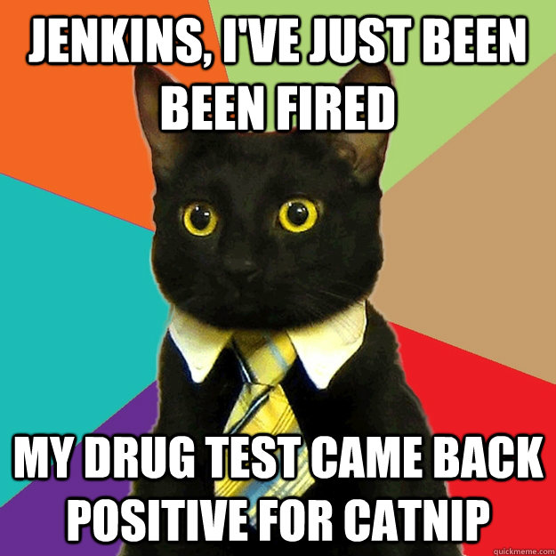 Jenkins, I've just been been fired My drug test came back positive for catnip  - Jenkins, I've just been been fired My drug test came back positive for catnip   Misc