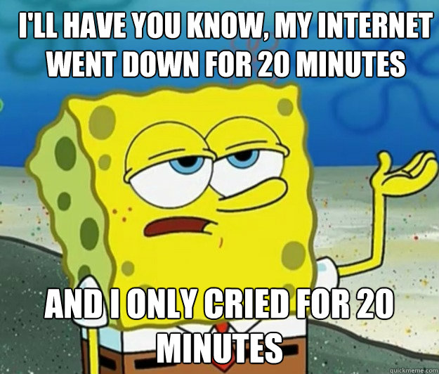 I'll have you know, my internet went down for 20 minutes And I only cried for 20 minutes