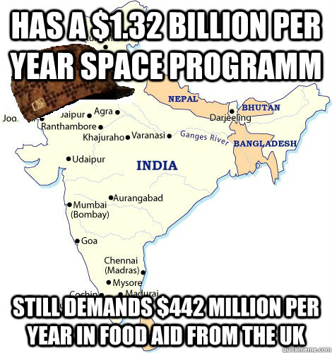 Has a $1.32 billion per year space programm Still demands $442 million per year in food aid from the UK