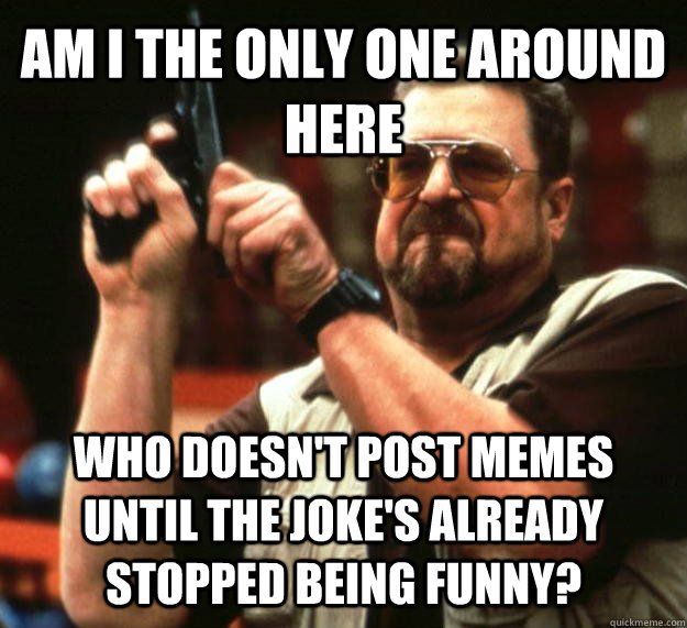 AM I THE ONLY ONE AROUND HERE who doesn't post memes until the joke's already stopped being funny? - AM I THE ONLY ONE AROUND HERE who doesn't post memes until the joke's already stopped being funny?  Angry Walter