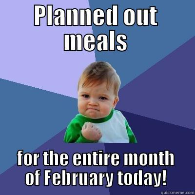 Productive Planning - PLANNED OUT MEALS FOR THE ENTIRE MONTH OF FEBRUARY TODAY! Success Kid