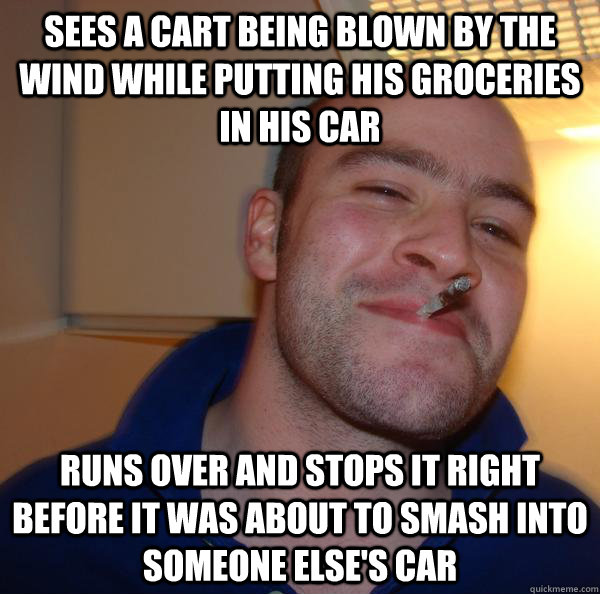 Sees a cart being blown by the wind while putting his groceries in his car runs over and stops it right before it was about to smash into someone else's car - Sees a cart being blown by the wind while putting his groceries in his car runs over and stops it right before it was about to smash into someone else's car  Misc
